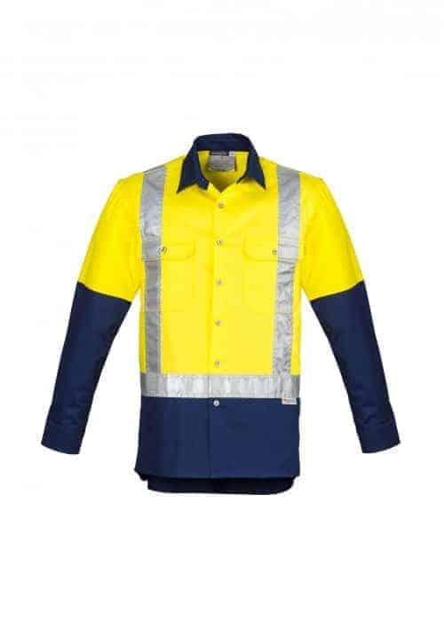 Mens Hi Vis Spliced Industrial Shirt - Shoulder Taped