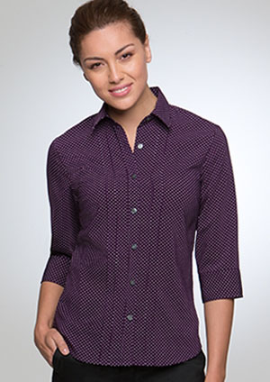 city stretch spot blouse