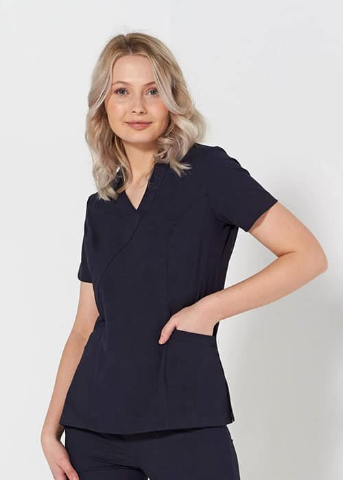 ladies fitted stretch scrub top