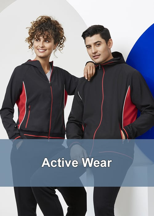 Two people in corporate active wear