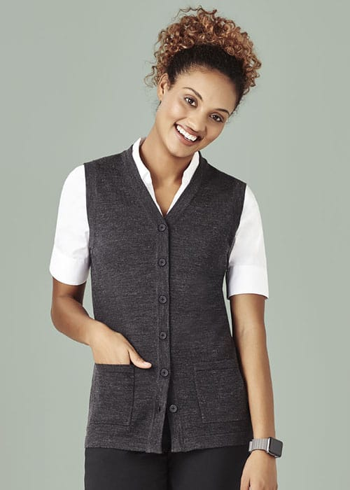 biz care button front vest