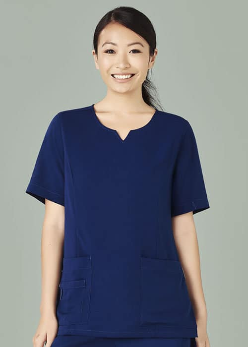 biz care round neck scrub top