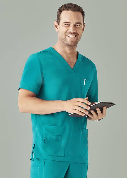 biz care mens scrub top