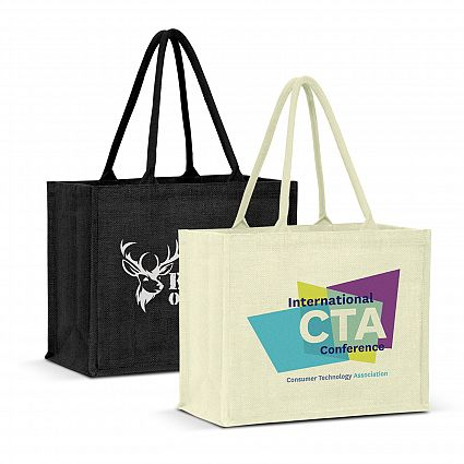 Two tote bags, one black one white with digital heat transfer logos printed onto it