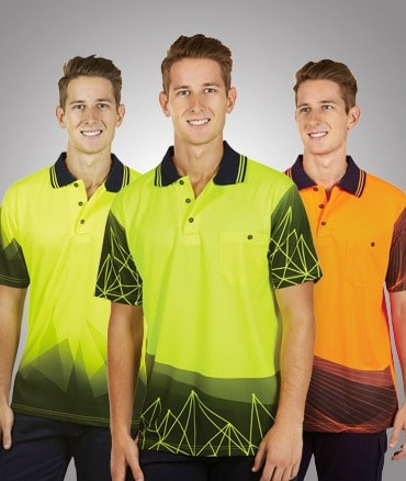 A trio of men in high visibility shirts that have been dye sublimated