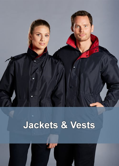 Two people wearing rain proof and warm jackets/coats