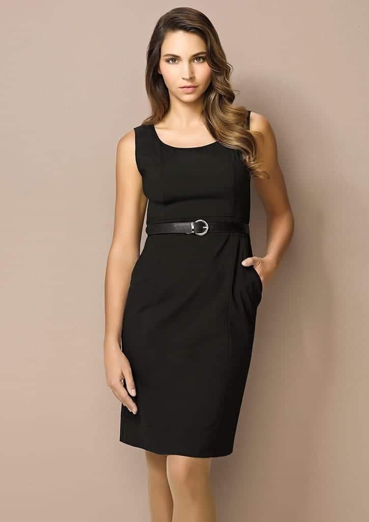 26e58e2e10766 Ladies Sleeveless Side Zip Dress - Wool Stretch