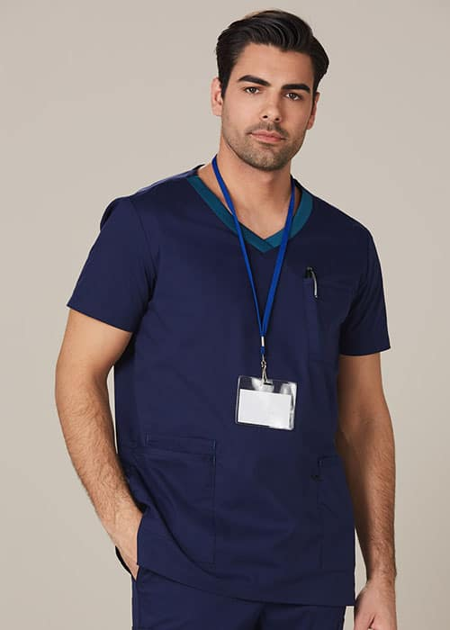 mens contrast scrub top