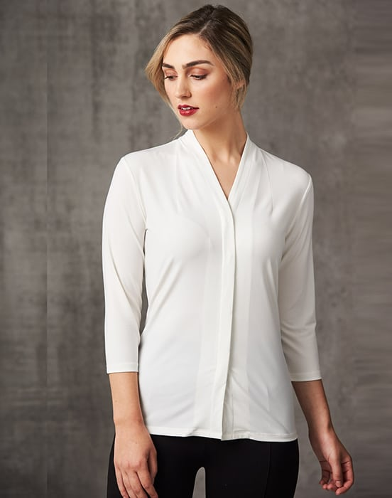 Simply Be Womens 3//4 Sleeve High Neck Blouse