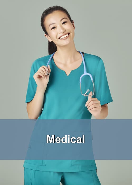 A lady in the medical profession wearing medical scrubs and a stethoscope around her neck