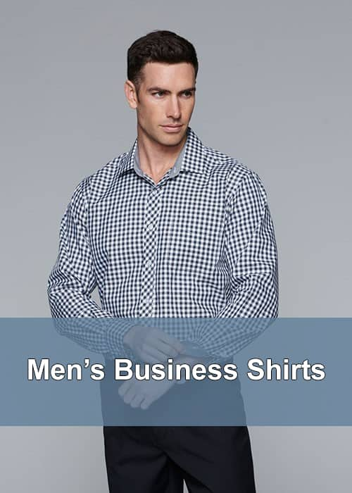 A man in a checked pattern of blue & white business shirt