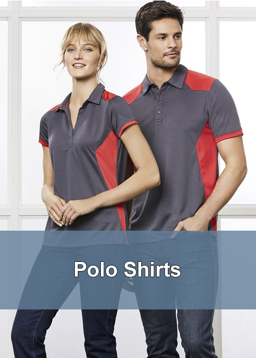 Two people stood next to each other in business polo shirts