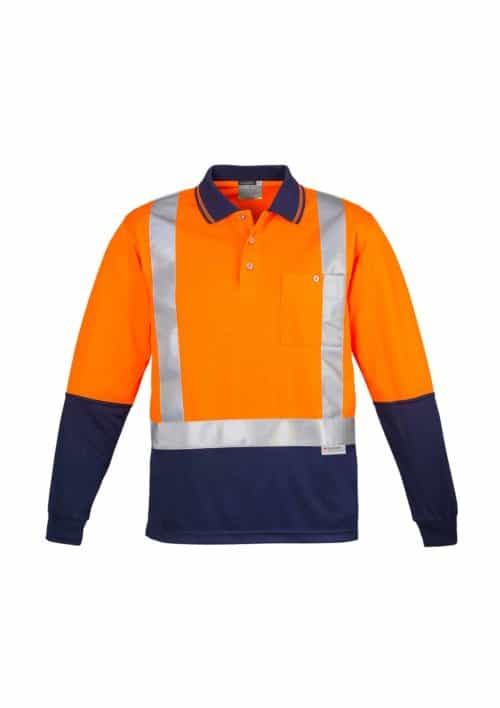 Hi Vis Spliced Polo - Long Sleeve Shoulder Taped